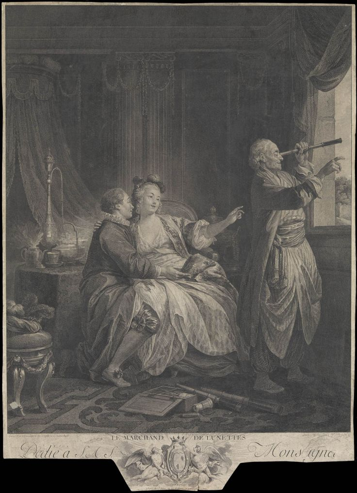 Le Marchand de Lunettes (optical salesman takes advantage of his customer's distraction). Engraved by I. St. Helmann, 1776, after a painting by Jean Baptiste Le Prince of 1773 - National Maritime Museum