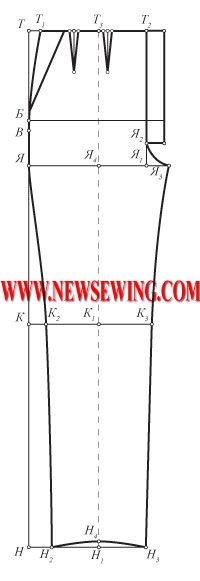 Pattern children's pants from 3 to 16 part 1 (step by step construction of the front halves).