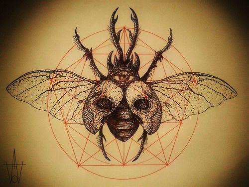 Illustration artwork skull beetle blackwork geometry tattoo flash Dotwork worthless art