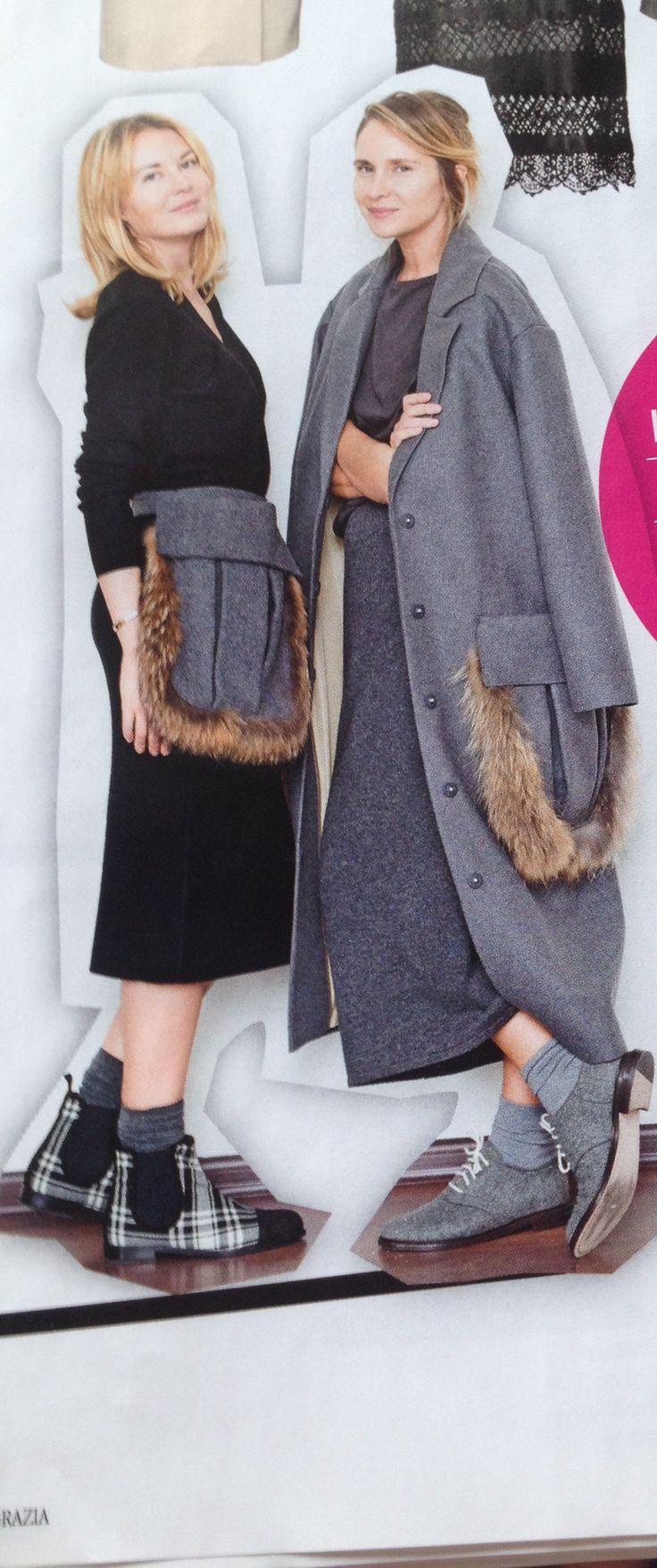 Пальто из шерсти и шелка с мехом, Ruban         collection autumn 2014