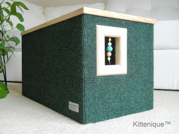 Handcrafted wooden cat house featuring a unique beaded doorway and window that will satisfy your cat's curiosity.  https://www.etsy.com/listing/224549151/green-beaded-cat-house-wooden-cat?ref=listing-shop-header-3
