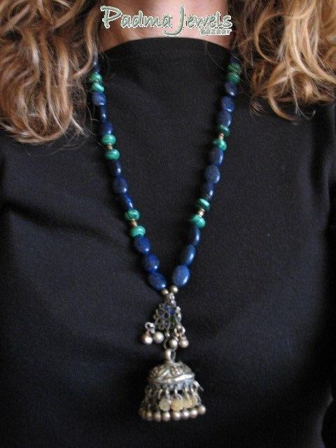 Karan phul Jhumkha  necklace with afghan pendant (Kuchi earring). lapislazuli and malachite, brass by Padma Jewels Bazaar