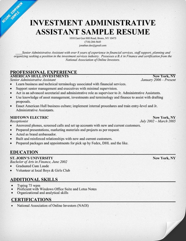 Investment Administrative Assistant Resume (resumecompanion - actuarial resume example