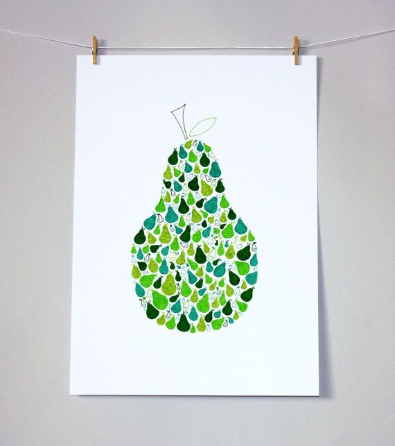 Pear artwork, limited edition print, wall art, nursery decor, kids print, green
