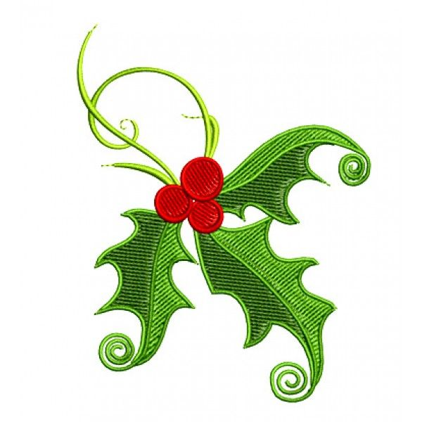 Free Xmas Embroidery Designs  Christmas Holly Embroidery