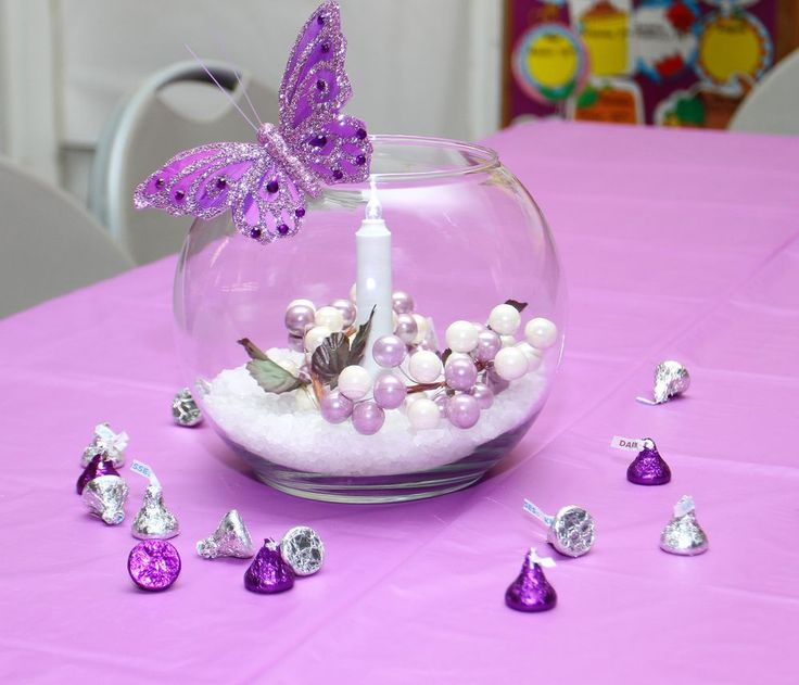 Silver and Purple Centerpieces with Epsom Salts, Candle, butterfly, & Hershey Kisses #DIYCenterpieces #butterflies www.unitedfaithchurch.org