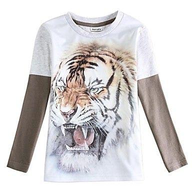 la impresión del tigre cabritos de la camiseta camiseta del muchacho para los bebés varones camiseta mangas largas tes de los niños - USD $ 6.80