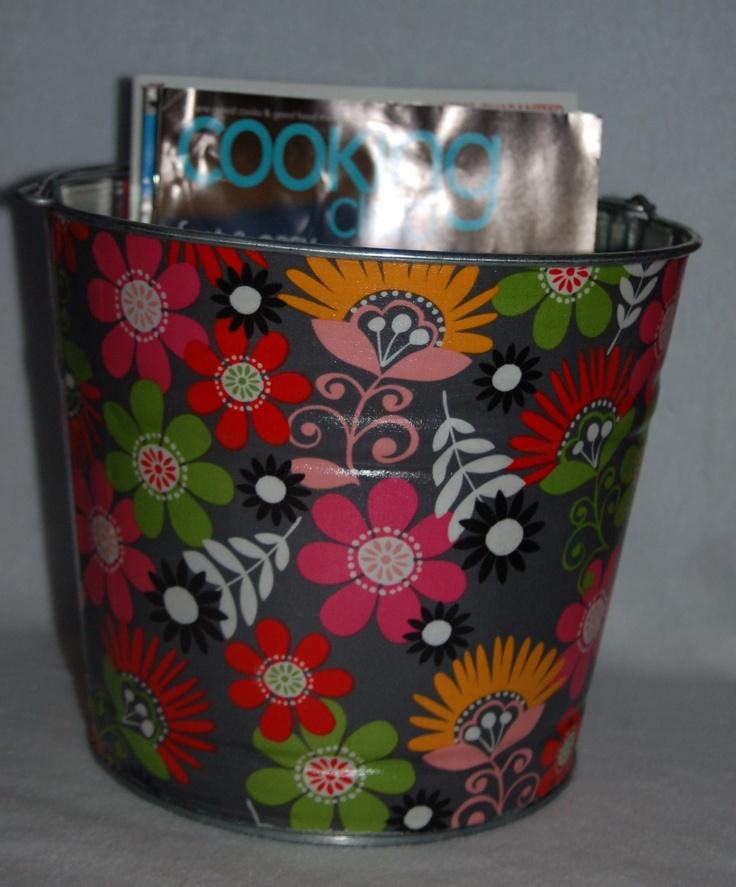 decoupage fabric bucket
