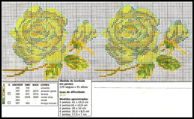 ARTESANATOS TRANSITÓRIA: rosas amarelas no ponto cruz