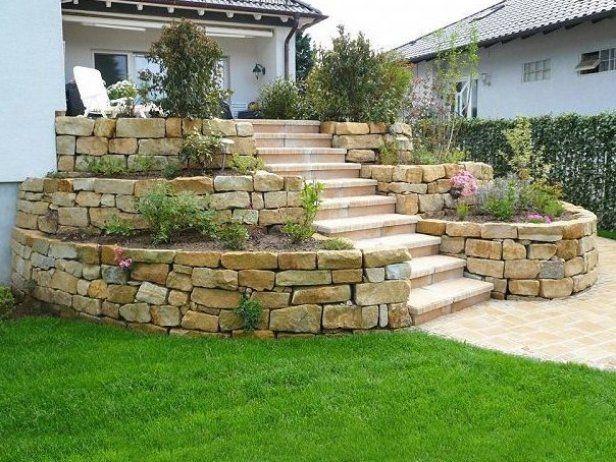 Gr E Der Steine Okay Garten Gartengestaltung Gartendesign Gartendeko Terraced Landscaping Landscaping Retaining Walls Front Yard Garden