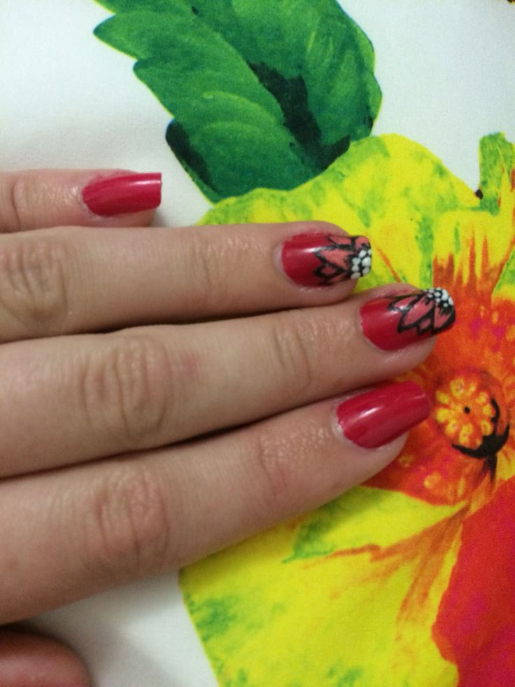 Nail art I did for my sister to match her dress :3