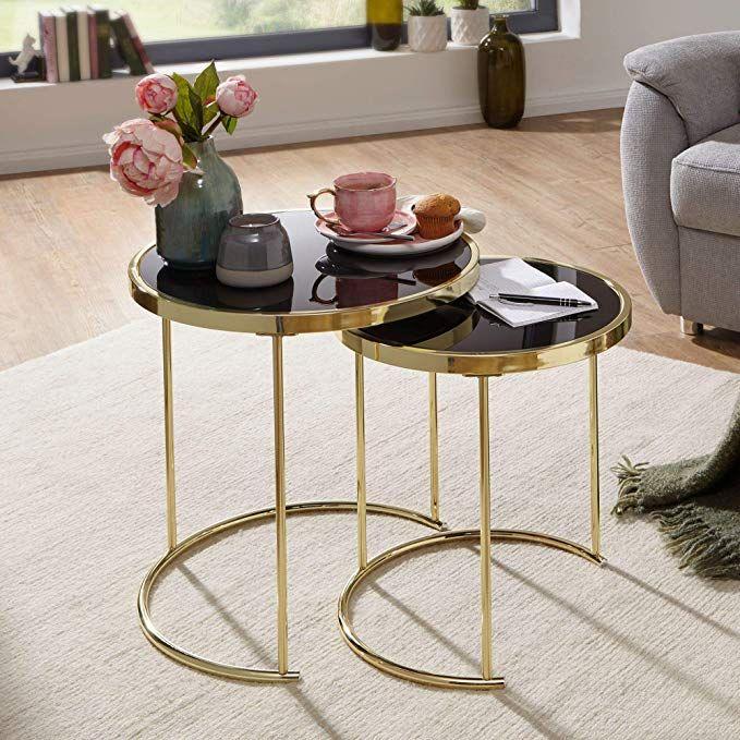 Affiliatelink Finebuy Design Satztisch Caro Schwarz Gold Beistelltisch Metall Glas Couchtisch Set Aus 2 T Metalltische Wohnzimmertisch Beistelltisch Metall