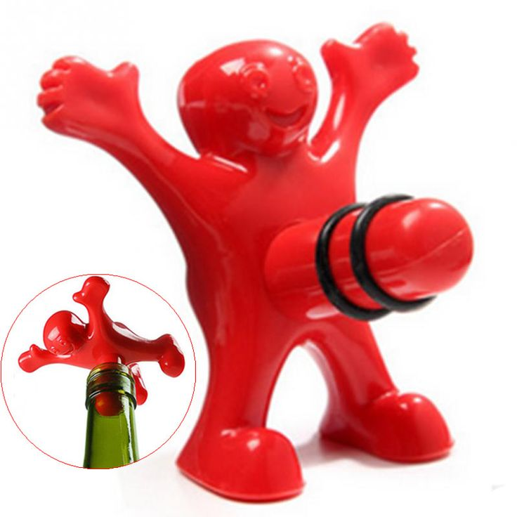 1Pc Unique Funny Happy Red Man Guy Wine Stopper Novelty Bar Tools Wine Cork Bottle Plug Perky Interesting Gifts ** Find similar products by clicking the image