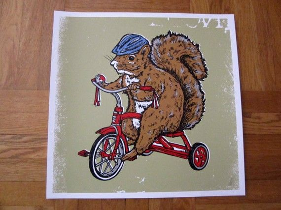 Squirrel on Red Tricycle Bike Critter Silk Screened Poster Baby Nursery Baby Shower Valentine's Day Present Gift - Etsy