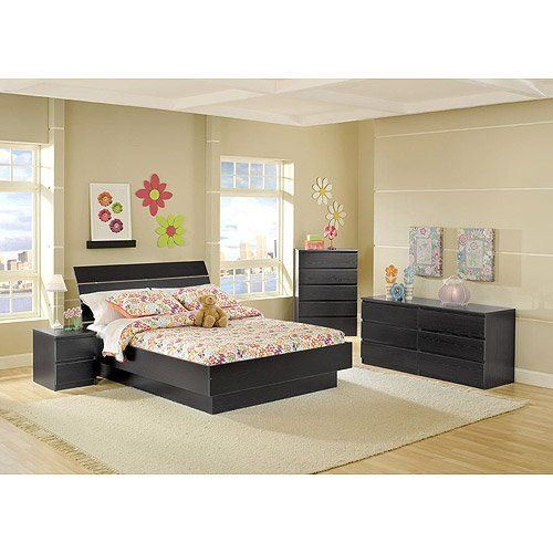 4-piece Full Platform Bed, Nightstand, Dresser and Chest Bed Room Set, Black Woodgrain |