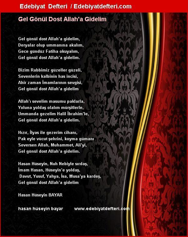 Gel Gönül Dost Allah'a Gidelim Şiiri Edebiyatdefteri.com sitesinde otomatik olarak oluşmuştur. Sizde şiirinizi otomatik e-kart yapın!