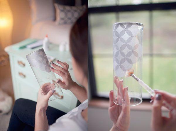 Make a tissue paper embellished candle holder