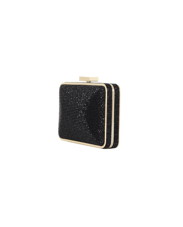 OLGA BERG RHINESTONE-COVERED CLUTCH BAG S/S 2016 Black rhinestone-covered clutch bag metallic gold trim removable shoulder strap snap closure 18x11,5x3 cm
