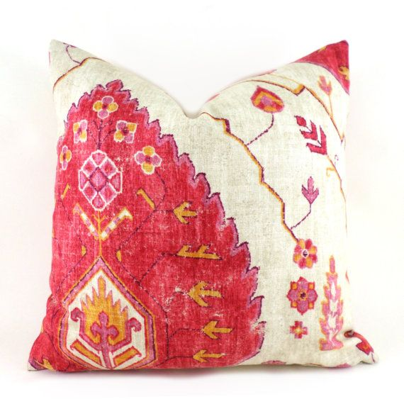 1 Pillow Covers ANY SIZE Decorative Pillow Cover Designer Pillow Red Pillow Orange Pillow Richloom Aubusson Coral