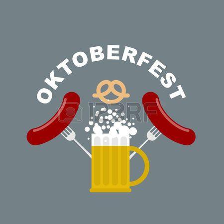 Logotipo de la Oktoberfest. Taza de cerveza con espuma. Embutidos y fritos tenedor. Pretzel, merienda cerveza. Vector emblema para el Festival de la Cerveza en Alemania. Comida y alcohol tradicional.
