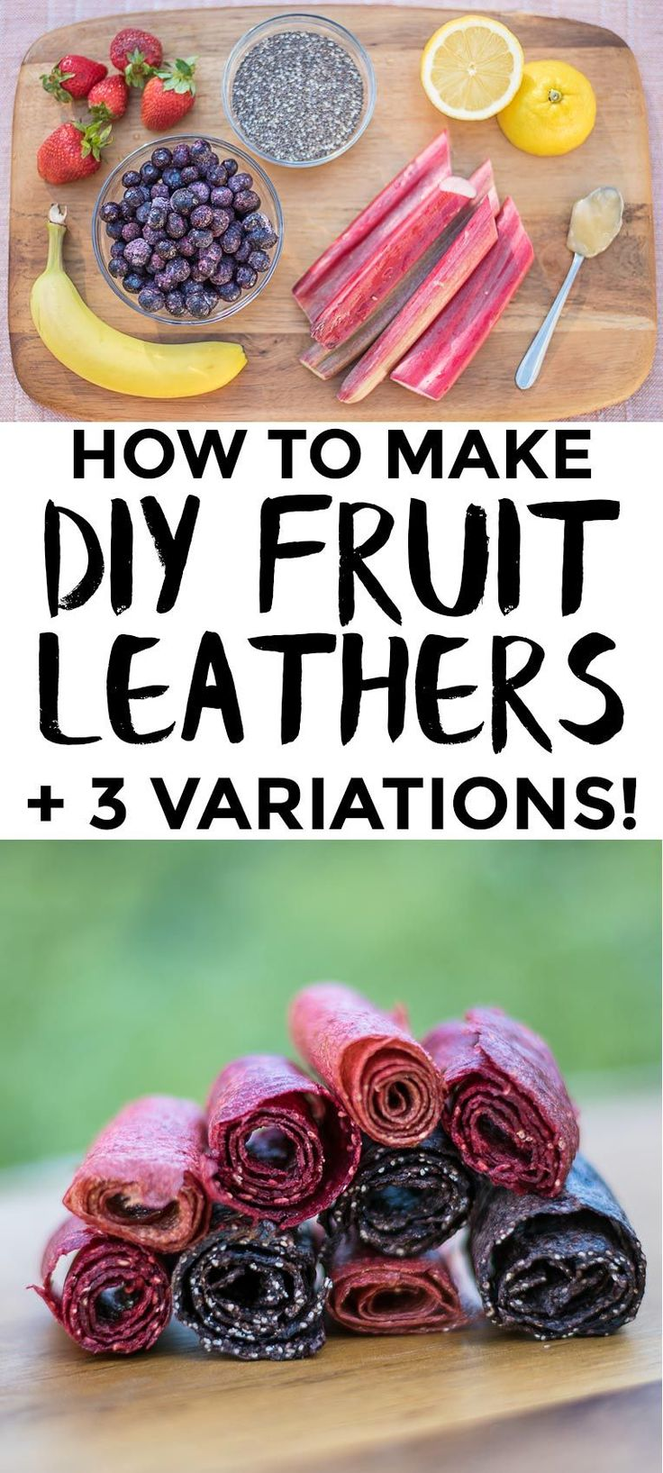 3 easy Fruit Leather recipes to make in a dehydrator. Strawberry Rhubarb, Blueberry Banana & Chia Seed, and Raspberry Peach. These make great hiking snacks for a day outdoors! Naturally sweetened, Vegan + Gluten free
