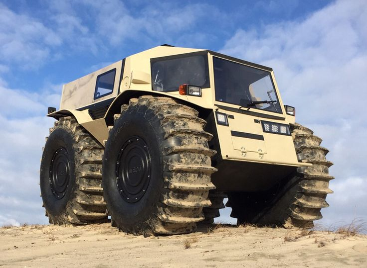 the sherp ATV is an all-terrain 'mini-monster truck' that not only dominates off-road environments, it can also plow through water, ice, and snow.