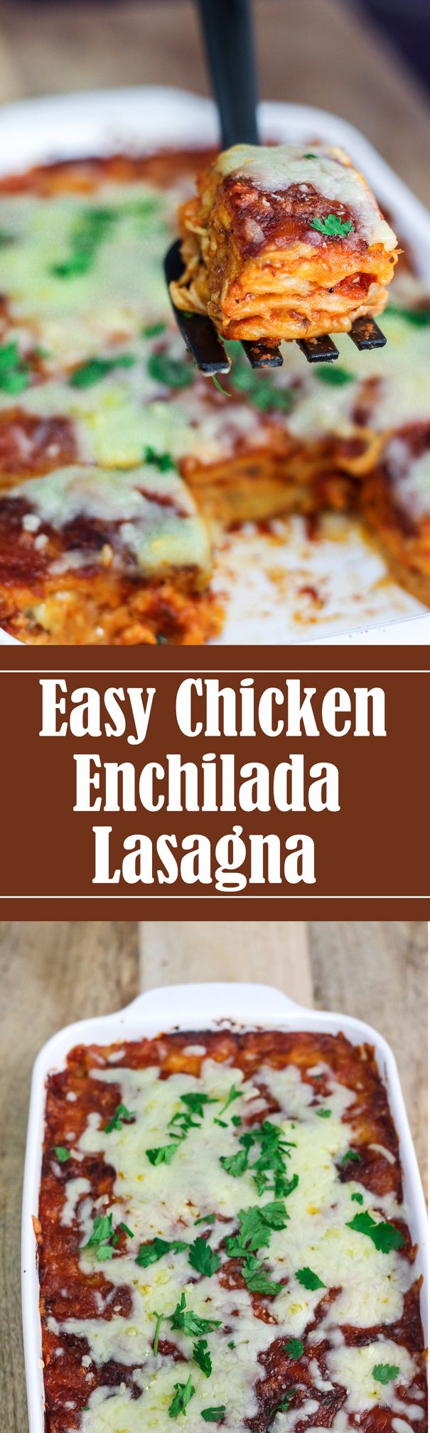 This Easy Chicken Enchilada Lasagna is a breeze to make. The unique thing about this dish is, this actually tastes just like a lasagna AND an enchilada too.