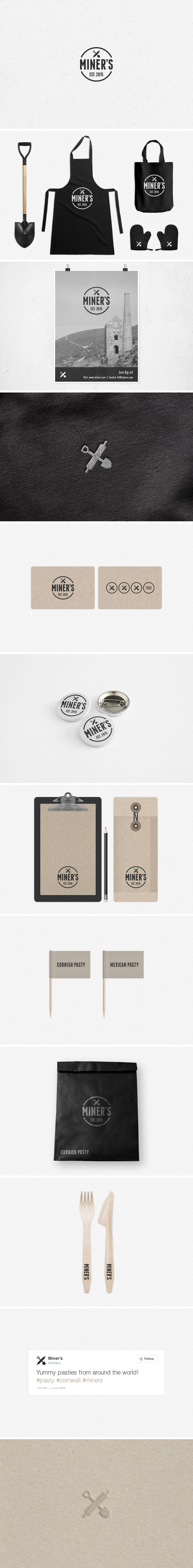 Miners Bakery Brand #brand #miners #bakery #pasty #logo #graphicdesign #identity
