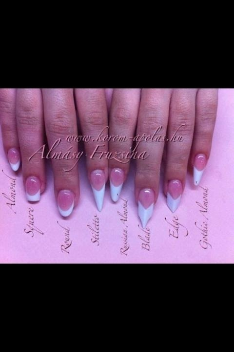 I wanted to post this so we can all see the difference in nails.  Every rounded or pointy nail is Not a stiletto.  Even this one shown is almost too short to be considered one.