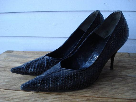 Vintage 1950s Black Stilettos Pointy Toed Reptile by bycinbyhand