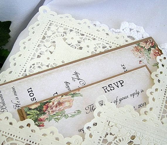 Vintage Rose Rustic Wedding Invitation w Doily by AllThingsAngelas, $5.00