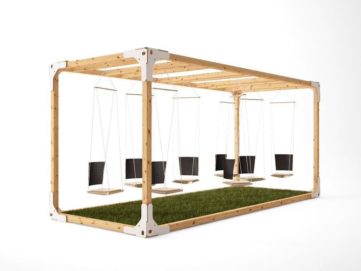 GDD 2014 / 30+/ temporal public space installation / A grass room with some plywood swings as a symbol of a garden.