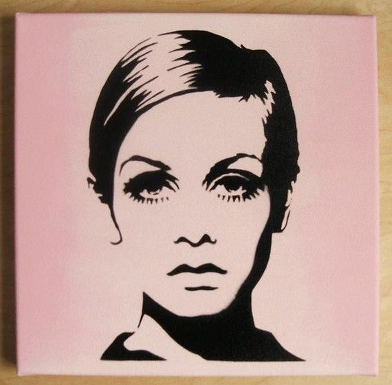 TWIGGY Stencil Graffiti on canvas 60s mod pop art by domdoodle, $20.00. gahh want it soo bad!!! might buy it :))