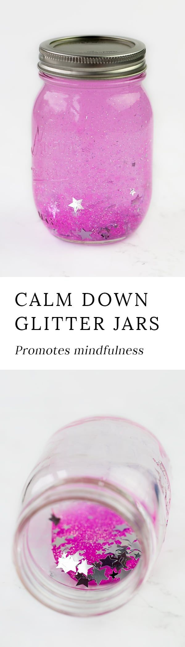 Mindfulness is an important skill for kids to develop. Learn how to make a glitter timer to promote mindfulness and calm in your home or classroom. via @https://www.pinterest.com/fireflymudpie/