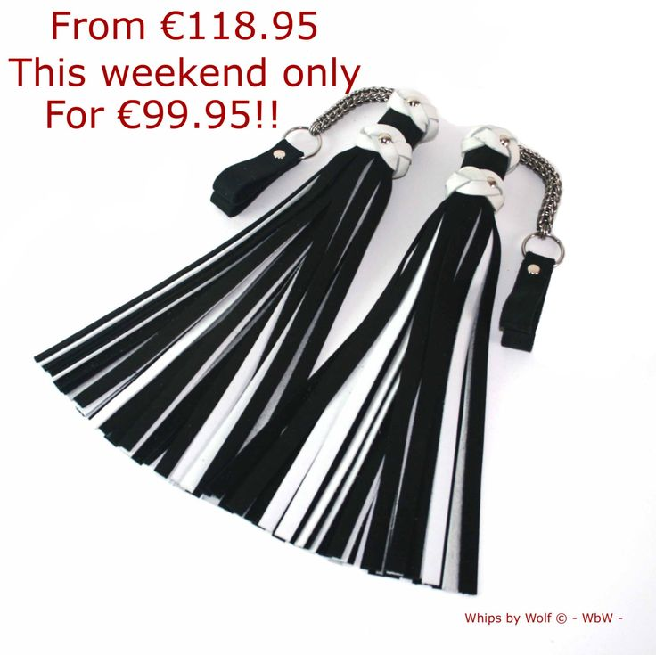 SALE- Poi finger floggers pair- Leather- BDSM-  ±45 falls each- Heavy stainless steel chain- Black and White- Genuine Nubuck Leather by WhipsbyWolf