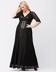 The gorgeous Gatsby gown keeps you in the spotlight with art deco elegance and the truly-flattering fit you love from Kiyonna. Soft stretch lace construction hugs your shape with a surplice neckline and empire silhouette before draping into a sequin-paneled full skirt. Fully lined. 3/4 sleeves.  lanebryant.com