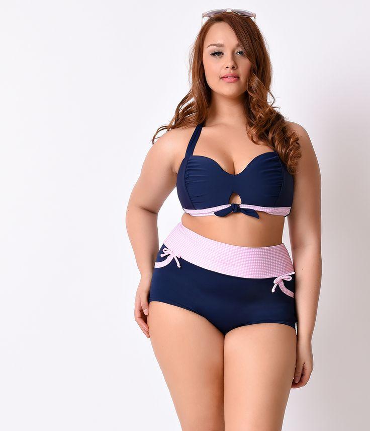 Shop Retro Plus Size Swimsuits And Swimwear High Waist