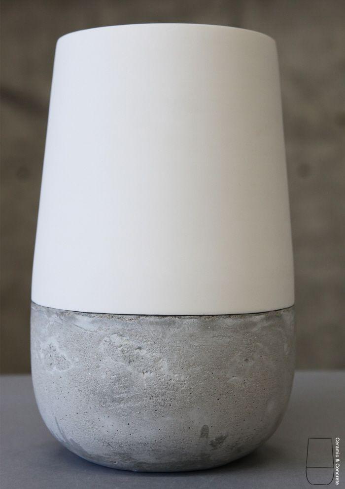 Cemment and Ceramic vase by Doron LivneCerámica Inter