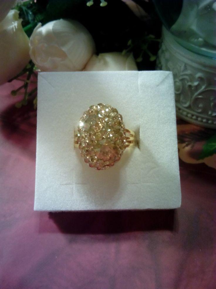 Golden shadow Swarovski crystals gold plated ring.