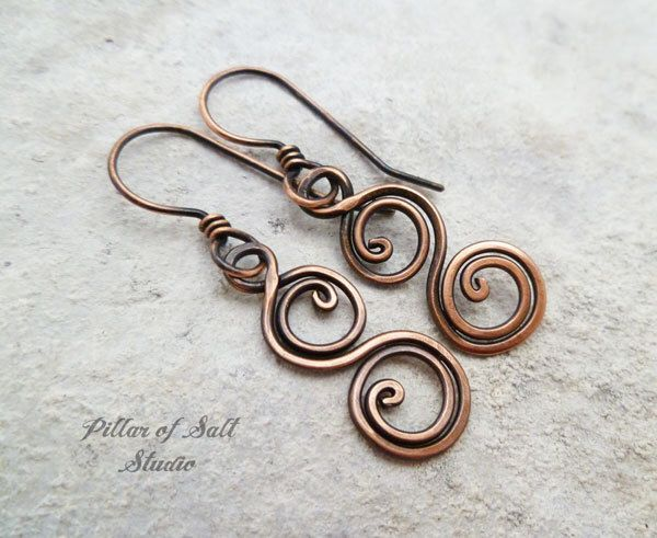 Solid copper earrings / Wire wrapped earrings / wire wrapped jewelry handmade / wire jewelry / copper jewelry / earthy / spiral earrings by PillarOfSaltStudio on Etsy https://www.etsy.com/listing/453654488/solid-copper-earrings-wire-wrapped