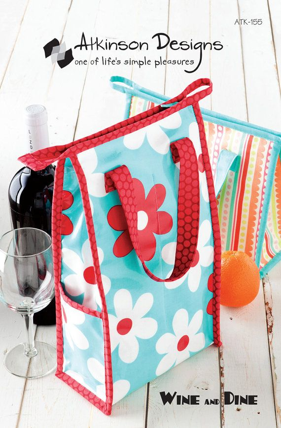 Wine lunch tote PATTERN  FREE ship with fabric by Laminates, $7.50