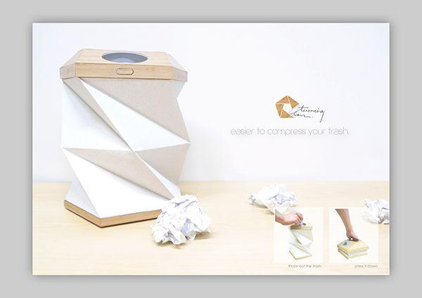 摺紙垃圾桶 Turning Can by TIDC TDC, via Behance