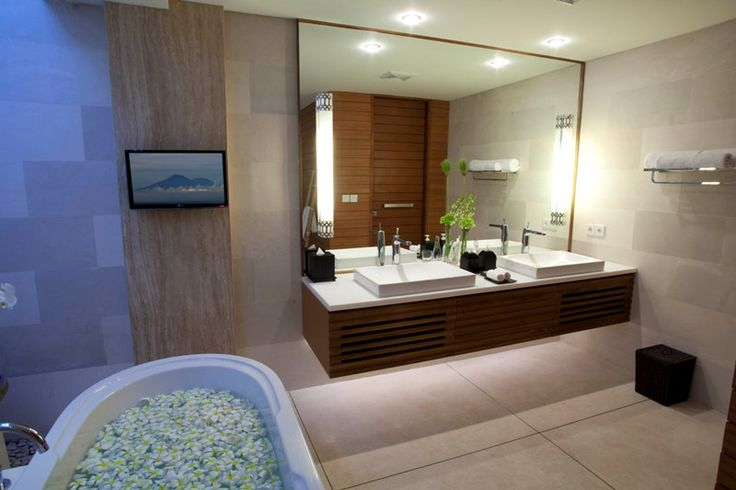 Can you feel the luxury? E: info@thegrovebalivillas.com #thegrovevillas #villas #estate #bali #holiday #bathup #flowers #luxury #bathroom #spa #tropical #island #summer #couple #honeymoon