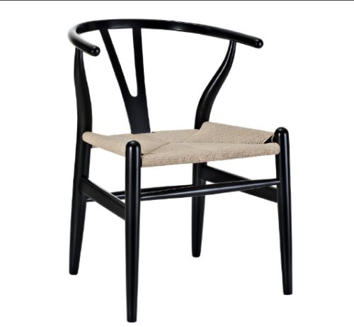 Black Poly and Bark Wegner Wishbone Chair