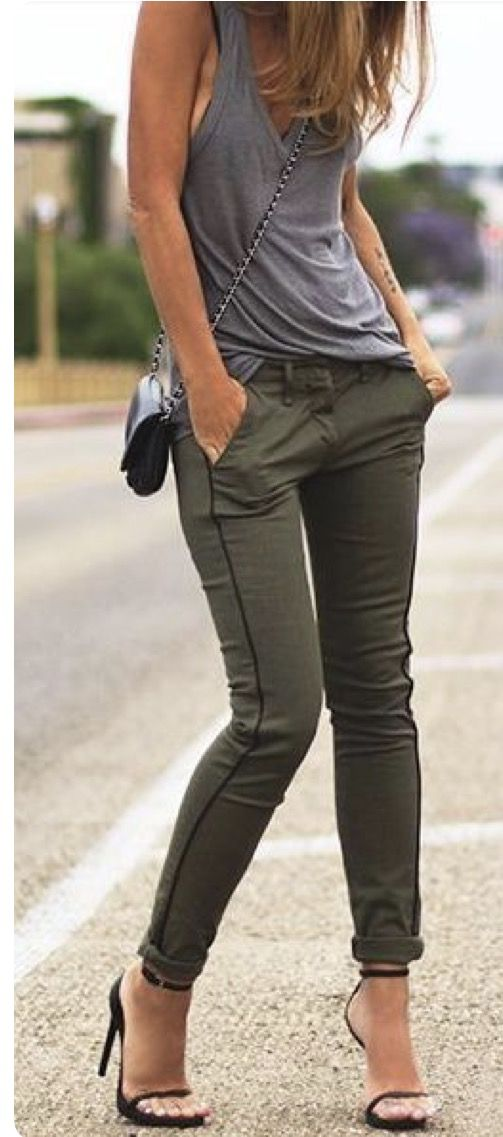 Brilliant Outfits With Olive Green Pants  Glamour  Pinterest