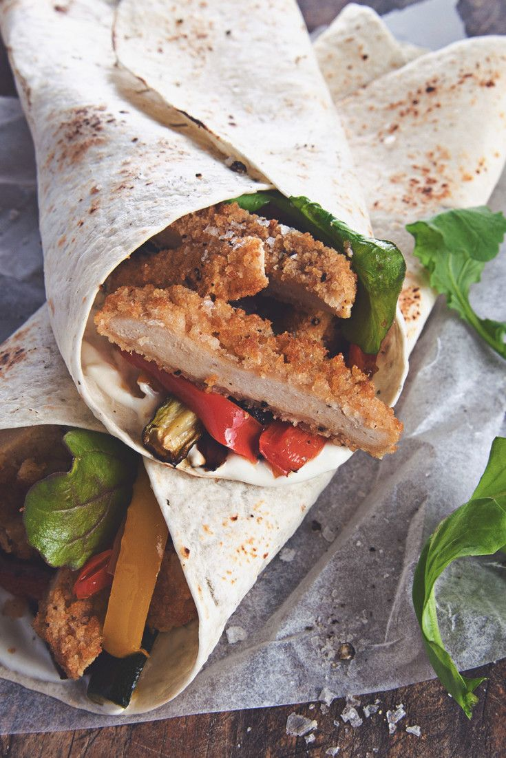 Try these tasty burger wraps - Quorn Meat Free Southern Style Chicken Burgers and roasted vegetables in tortilla wraps - perfect for lunch or as a snack.