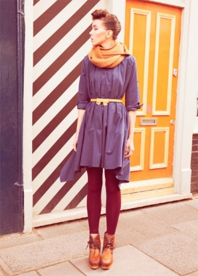 the colors, and the dress, belt, and scarf combination