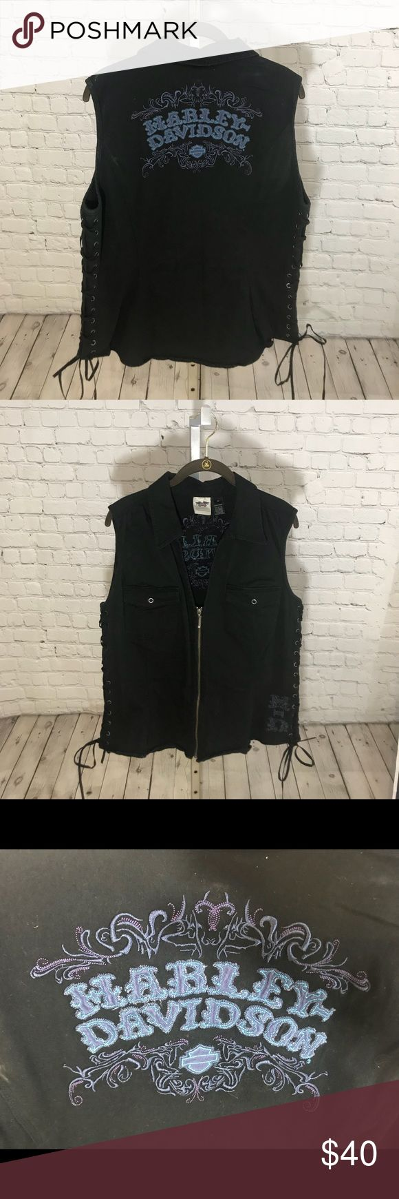 Harley Davidson Vest Great piece with lace up sides and embroidered blue and purple emblem. Harley-Davidson Tops