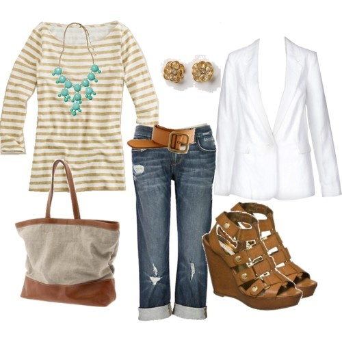 stripes: Casual Outfit, Fashion, White Blazers, Style, Color, White Jackets, Spring Summer, Spring Outfit