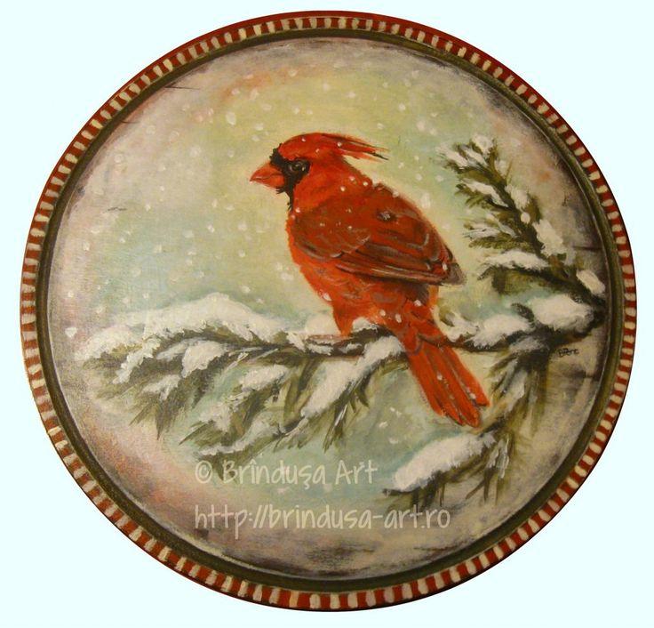 Northern Cardinal - round plaque, 24.5 cm (9.6 inches) in diameter; acrylic painting on wood. Pasăre cardinal (cardinalul nordic) - placă rotundă, cu diametrul de 24,5 cm; pictură pe lemn în culori acrilice.   #woodpainting #picturapelemn #winter #cardinal #snow #iarna #gift #cadou #acrylics #acrilice #handmade #art #BrindusaArt